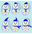 bears white stickers in christmas hats santa claus vector image vector image