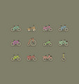 bicycles colorful icon set vector image