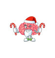 brain humble santa character having candies vector image vector image