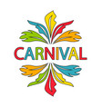 carnival logo template with colorful feathers vector image vector image