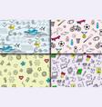 Cartoon doodles hand drawn style seamless pattern