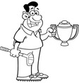 Cartoon man holding a trophy vector image vector image