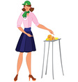 Cartoon woman in green hat offering cheese samples vector image vector image