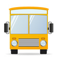 cartoon yellow bus in front view vector image vector image