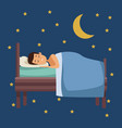 colorful scene of night with guy sleep in bed with vector image vector image