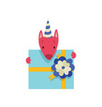 cute dog in party hat with gift box funny cartoon vector image vector image