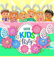 Easter party poster with flowers and children