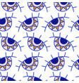 evil eyes seamless pattern in blue golden colors vector image vector image