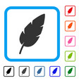 feather framed icon vector image