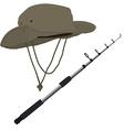 Fishing pole and hat vector image vector image