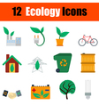 Flat design ecology icon set vector image