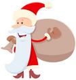 funny santa claus cartoon character with sack vector image vector image