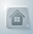 Glass square icon with highlights home vector image