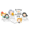 group cartoon children reading books my first vector image vector image