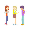 group of teen girl talking outdoor girl vector image