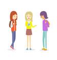 group teen girl talking outdoor girl vector image vector image