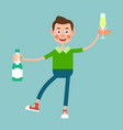 guy with bottle and glass of champagne vector image