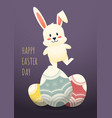 happy easter day decorative with rabbit standing vector image