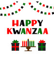 happy kwanzaa hand lettering with flags candles vector image vector image