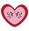 heart love card with cupid angel vector image vector image