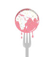 Isolated cartoon of pink sprinkle earth cake and f