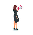 isometric businesswoman with loudspeaker in hand vector image vector image