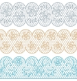 Lace fabric seamless borders with abstact flowers vector image vector image