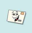 letter mail envelope cute smiley face character vector image