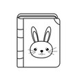line education rabbit book object style vector image