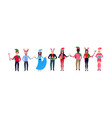 mix race people wearing different costumes vector image vector image
