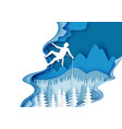 mountaineering in paper art vector image