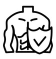 muscle man and shield line icon male body vector image