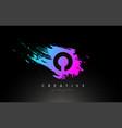 o artistic brush letter logo design in purple vector image