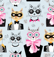 pattern cats hipsters vector image vector image