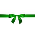 realistic green bow with horizontal green ribbons vector image vector image