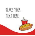 red template with hotdog and red soda cup vector image vector image
