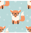 seamless merry christmas pattern with hipster fox vector image vector image