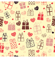 seamless pattern hearts and gift boxes vector image vector image