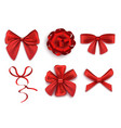 set red gift bows in various shapes realistic vector image vector image