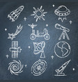 space icons set on chalkboard in line style vector image