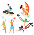 summertime relaxation people windsurfers set vector image vector image