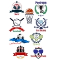 Team and individual sporting emblems vector image