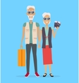 Travel in Old Age Concept in Flat Design vector image vector image
