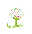 tree people stars and hearts logo vector image