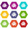 wild raspberry icons set 9 vector image