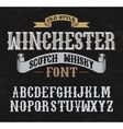 winchester label font whit decoration design old vector image
