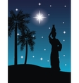 Woman with vessel icon Desert on night design vector image vector image