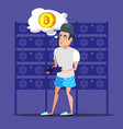 young cartoon man bitcoin miner in server room vector image