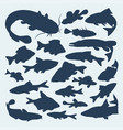 silhouettes of river fish vector image