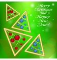 Christmas greeting card with creative trees vector image